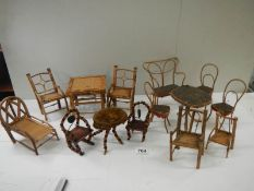 A mixed lot of old bamboo and other traveller sample furniture, approximately 14 items.