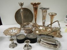 A mixed lot of interesting silver plate including spill vases.