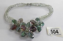 A lovely double row multi coloured crystal necklace.