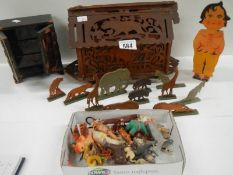 An old toy Noah's ark with wooden animals, miniature chest etc.