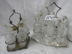 A Victorian 6 bottles cruet with one odd bottle, a Victorian 4 bottle cruet.