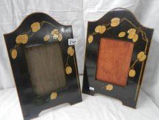 """A pair of art deco inlaid photo frames, 10"""" x 16""""."""