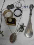 A mixed lot of silver vesta's, ladies watch etc.