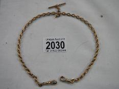 "A 9ct gold double Albert, 15.5"" long, 24 grams."