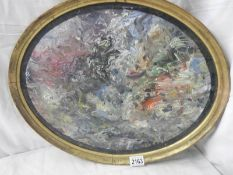 Terry O'Donnell 20th century, oil on board, abstract entitled Nucelar, signed verso, in oval frame,