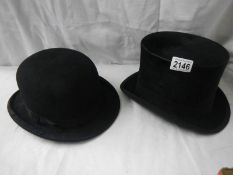 A top hat and a bowler hat.