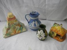 4 items of china including Moorcroft, Wedgwood etc.