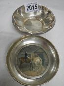 2 hall marked silver dishes, one depicting a horse and jockey (possibly hand painted).
