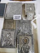 A mixed lot of silver plate religious items.