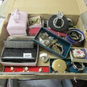 A good lot of costume jewellery together with 2 Stratton compacts, approximately 50 items.