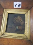A Victorian oil on board in maple frame.