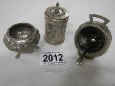A foreign silver 3 piece condiment set.