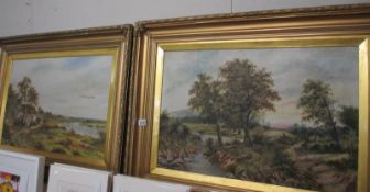 A good pair of Victorian oil paintings in gilt frames, one has slight damage.
