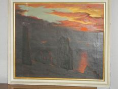 A Cornish painting of tin mines at sunset.