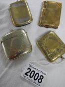 3 assorted vesta cases and a stamp box. ****Condition report**** They are all brass.