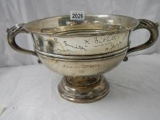A large hall marked silver bowl with six signatures, 24 ounces / 834 grams.