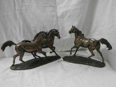 2 good quality bronze finished horses.
