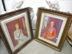 A pair of framed and glazed portrait prints of King George VI and Queen Elizabeth the Queen Mother.