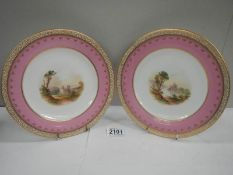 A pair of hand painted plates with gilded rims.