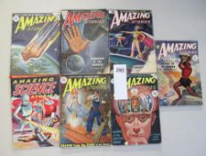 A collection of 7 Amazing Stories sci-fi magazines