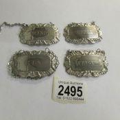 4 silver plate spirit labels.