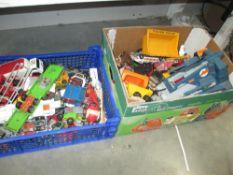 2 boxes of Die cast cars etc.