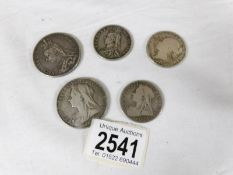 1892 & 1900 crowns and 1838, 1887 an 1898 half crowns.