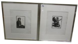 Harry George Webb (1882-1914) Pair of late 19th early 20th century pencil signed woodblock prints,