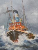 A painting on canvas depicting a lifeboat.
