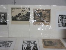 Collection of 7 woodblock and linocut prints early to late 20th century all pencil signed or