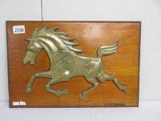 Arthur John Bridgeman (1916-2004) Early bronze sculpture of a horse attached to a wooden plaque