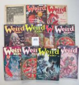 A good collection of 11 Weird Tales Science Fiction pulp magazines (one has cover detached)