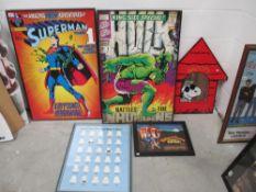 2 large superhero prints in black frames Superman 1 and Hulk 1,