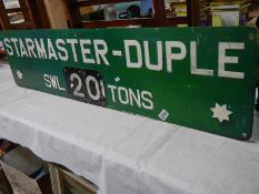 """A Starmaster Duple crane sign, 48"""" x 12"""", originally from a crane in Lincoln foundry."""