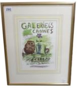Pablo Picasso (1881-1973) Lithographic print Galerie 65 Cannes 1956 published in 1957.