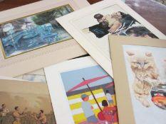 Portfolio of paintings, artist signed prints etc various artists including Pamela Guille A.R.C.A.