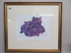 Andy Warhol (1928-1987) Plate signed lithographic print of two purple cats,