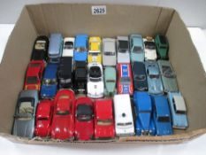 Box containing various die cast cars