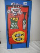 A British school acrylic on canvas table to still life with fish,