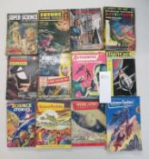 A collection of 12 early Sci-Fi pulp books including Authentic, Science Fantasy,