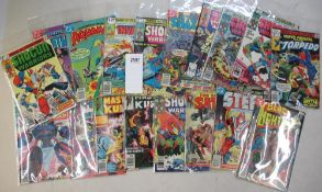 A collection of 20 1970s comics in bags including Black Lightning, Steel, The Invaders,
