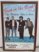 A framed and glazed Ritz Theatre Lincoln poster for Back on the Road Jim Richard Chas and Dave