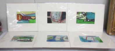 Cornish School collection of 6 abstract boat and harbour studies in acrylics and gouache all titled