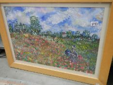 A French style pine framed oil painting.