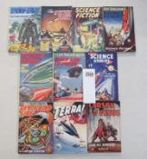 A good collection of 10 early Sci-Fi pulp magazines / books including Spawn of Space, Terra,