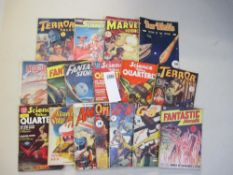 A collection of 17 early Sci-Fi pulp magazines including Terror Tales, Science Fiction Quarterly,