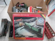Box containing quantity of 00 scale Hornby Railways rolling stock,