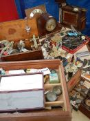 A mixed lot of mantel clocks, parts, tools, ornamentals etc.