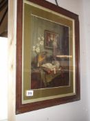 A framed and galzed still life Georgian scene (Pears Poster)