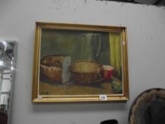 A mid 20th century oil on board still life titled 'Monday Evening', by J.
